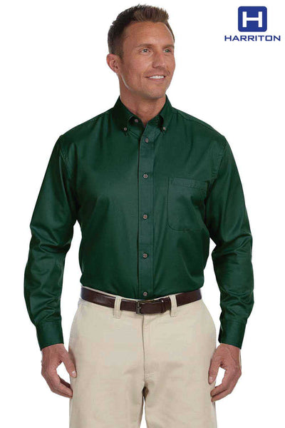 Harriton M500 Hunter Green Easy Blend Twill Stain Release Long Sleeve Button Down Shirt Front