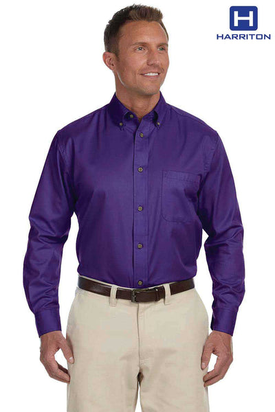 Harriton M500 Purple Easy Blend Twill Stain Release Long Sleeve Button Down Shirt Front