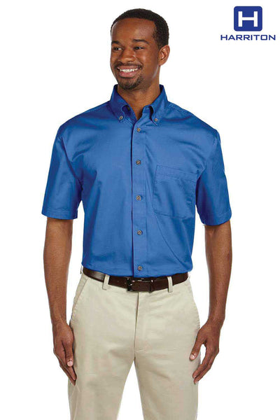Harriton M500S French Blue Easy Blend Twill Stain Release Short Sleeve Button Down Shirt Front