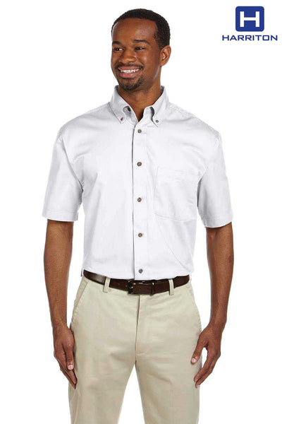Harriton M500S White Easy Blend Twill Stain Release Short Sleeve Button Down Shirt Front