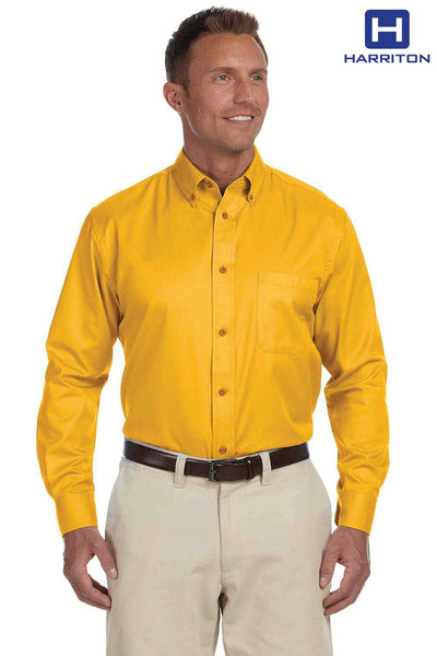 Harriton M500 Sunray Yellow Easy Blend Twill Stain Release Long Sleeve Button Down Shirt Front