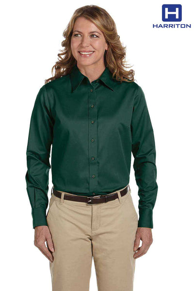 Harriton M500W Hunter Green Easy Blend Twill Stain Release Long Sleeve Button Down Shirt Front