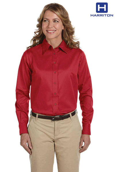 Harriton M500W Red Easy Blend Twill Stain Release Long Sleeve Button Down Shirt Front