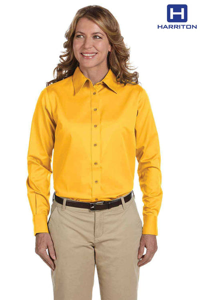 Harriton M500W Sunray Yellow Easy Blend Twill Stain Release Long Sleeve Button Down Shirt Front