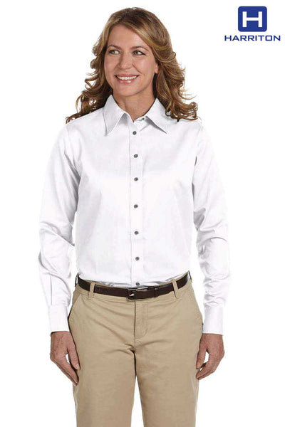 Harriton M500W White Easy Blend Twill Stain Release Long Sleeve Button Down Shirt Front