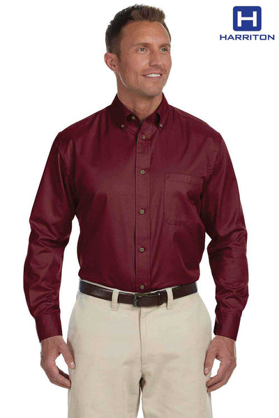 Harriton M500 Wine Red Easy Blend Twill Stain Release Long Sleeve Button Down Shirt Front