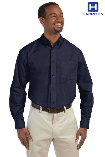 Harriton M510 Navy Blue Essential Poplin Blend Long Sleeve Button Down Shirt Front
