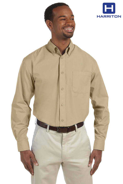 Harriton M510 Stone Brown Essential Poplin Blend Long Sleeve Button Down Shirt Front