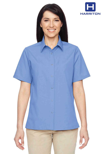 Harriton M545W Industry Blue Advantage Blend Short Sleeve Button Down Shirt Front