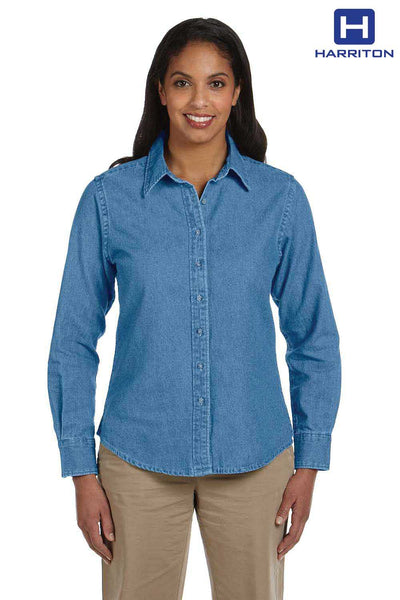 Harriton M550W Light Blue Denim Long Sleeve Button Down Shirt Front