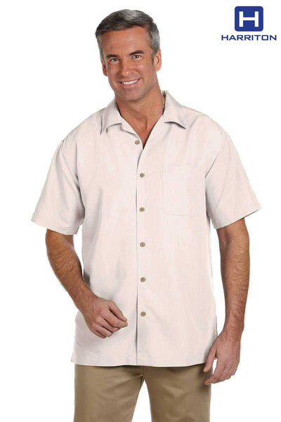 Harriton M560 Cream Barbados Textured Blend Short Sleeve Button Down Camp Shirt Front
