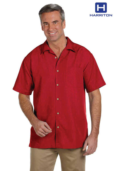 Harriton M560 Red Barbados Textured Blend Short Sleeve Button Down Camp Shirt Front