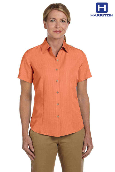 Harriton M560W Nectarine Orange Barbados Textured Blend Short Sleeve Button Down Camp Shirt Front