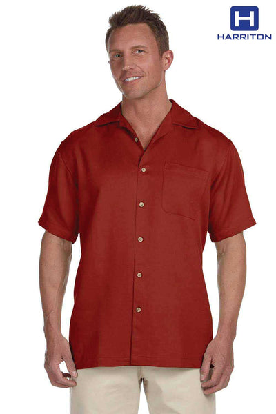 Harriton M570 Tile Red Bahama Cord Blend Short Sleeve Button Down Camp Shirt Front