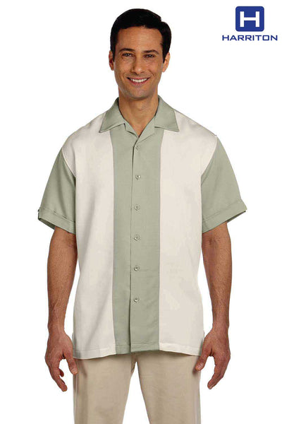 Harriton M575 Green Mist/Cream Bahama Cord Blend Two Tone Short Sleeve Button Down Camp Shirt Front