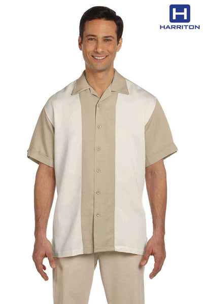 Harriton M575 Sand Brown/Cream Bahama Cord Blend Two Tone Short Sleeve Button Down Camp Shirt Front