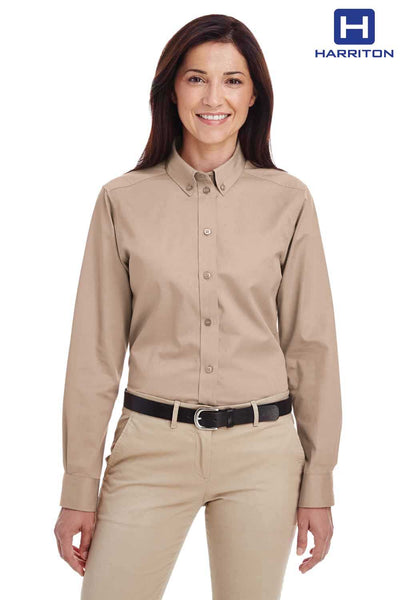 Harriton M581W Khaki Brown Foundation Cotton Twill Long Sleeve Button Down Shirt Front