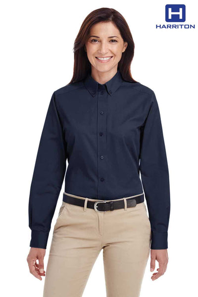 Harriton M581W Navy Blue Foundation Cotton Twill Long Sleeve Button Down Shirt Front