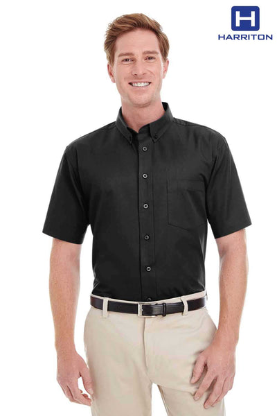 Harriton M582 Black Foundation Cotton Twill Short Sleeve Button Down Shirt Front