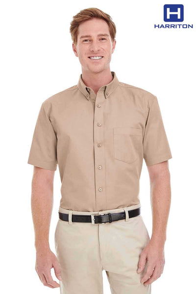 Harriton M582 Khaki Brown Foundation Cotton Twill Short Sleeve Button Down Shirt Front