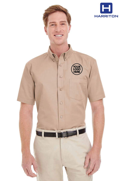 Harriton M582 Khaki Brown  Logo