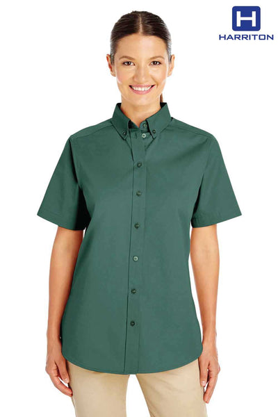 Harriton M582W Hunter Green Foundation Cotton Twill Short Sleeve Button Down Shirt Front