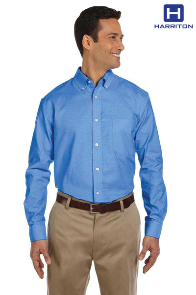 Harriton M600 French Blue Stain Release Oxford Blend Long Sleeve Button Down Shirt Front