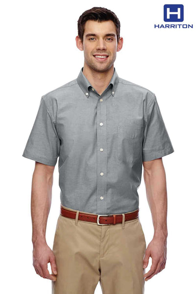 Harriton M600S Oxford Grey Stain Release Oxford Blend Short Sleeve Button Down Shirt Front