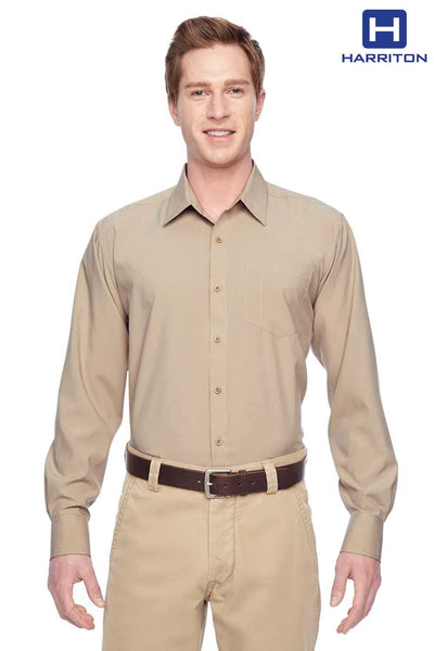 Harriton M610 Khaki Brown Performance Polyester Long Sleeve Button Down Shirt Front