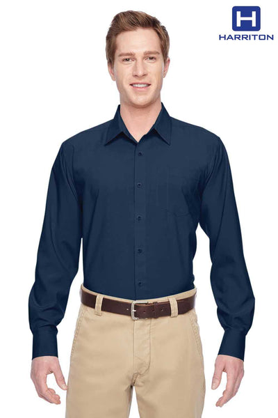 Harriton M610 Navy Blue Performance Polyester Long Sleeve Button Down Shirt Front