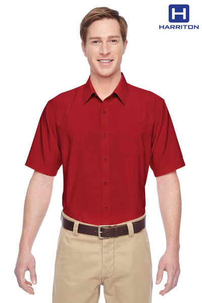Harriton M610S Red Performance Polyester Short Sleeve Button Down Shirt Front