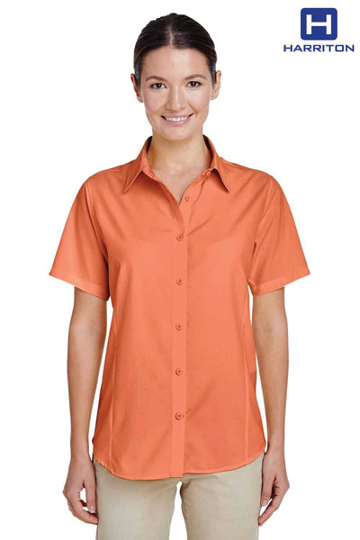 Harriton M610SW Nectarine Orange Performance Polyester Short Sleeve Button Down Shirt Front
