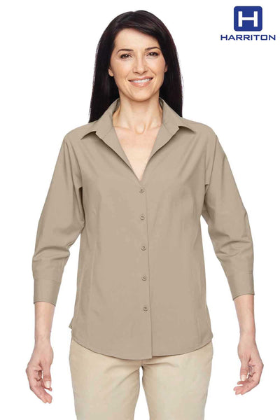 Harriton M610W Khaki Brown Performance Polyester 3/4 Sleeve Button Down Shirt Front