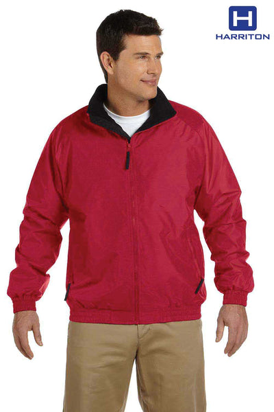 Harriton M740 Red Fleece Lined Nylon Jacket Front
