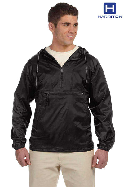 Harriton M750 Black Packable Nylon Hooded Jacket Front