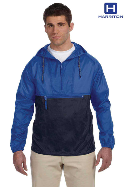 Harriton M750 Royal Blue/Black Packable Nylon Hooded Jacket Front