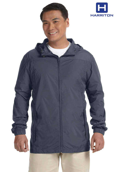Harriton M765 Graphite Grey Essential Nylon Hooded Rain Jacket Front