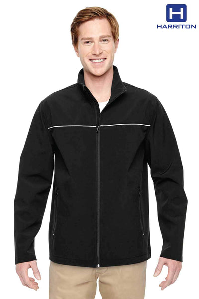 Harriton M780 Black Polyester Blend Soft Shell Jacket Front