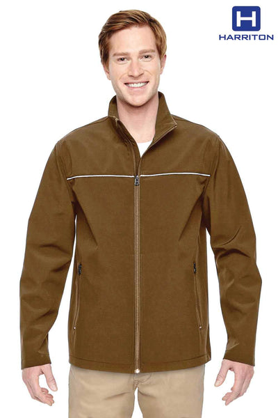 Harriton M780 Duck Brown Polyester Blend Soft Shell Jacket Front