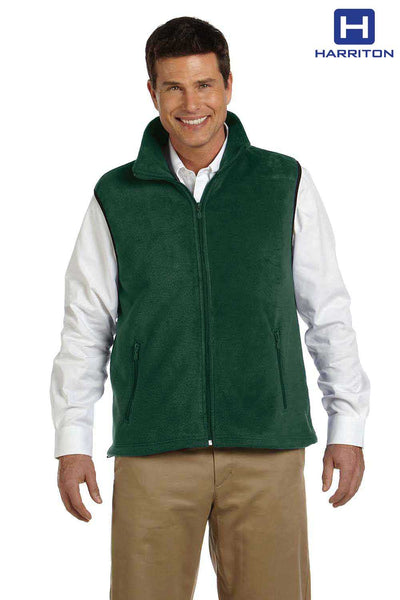 Harriton M985 Hunter Green Fleece Vest Front