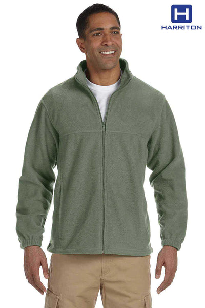 Harriton M990 Dill Green Fleece Jacket Front