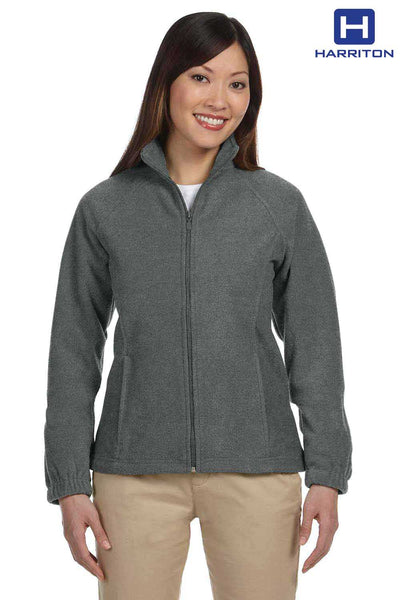 Harriton M990W Charcoal Grey Fleece Jacket Front