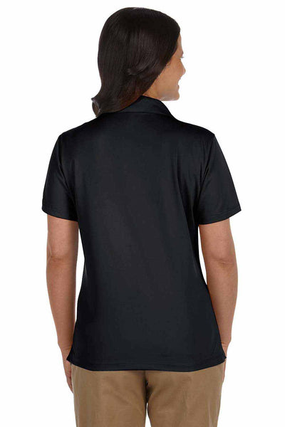 Harriton M354W Black Micro Pique Polyester Short Sleeve Polo Shirt Back
