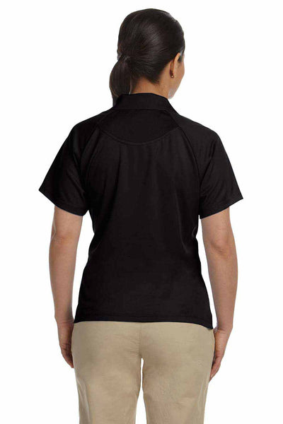 Harriton M374W Black Polytech Polyester Mesh Insert Short Sleeve Polo Shirt Back