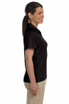 Harriton M374W Black Polytech Polyester Mesh Insert Short Sleeve Polo Shirt Side