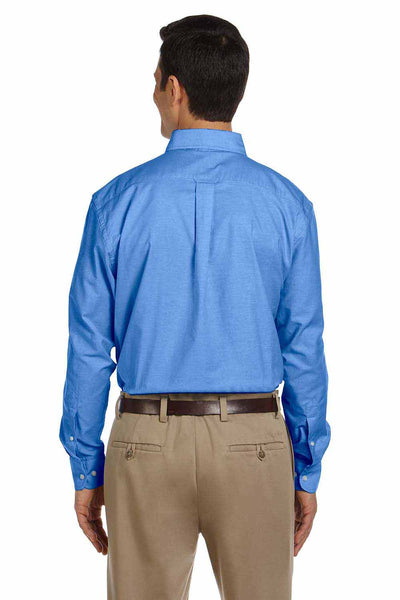 Harriton M600 French Blue Stain Release Oxford Blend Long Sleeve Button Down Shirt Back