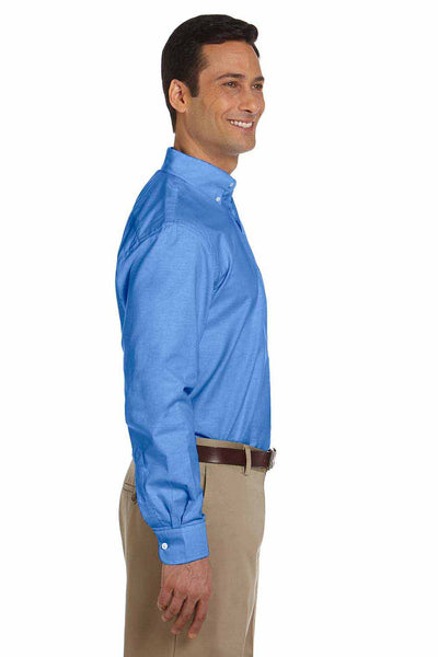Harriton M600 French Blue Stain Release Oxford Blend Long Sleeve Button Down Shirt Side