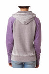 J America JA8926 Grey/Berry Purple Zen Fleece Contrast Hooded Sweatshirt Hoodie Back