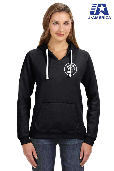 J America JA8836 Black Sydney Brushed Blend Hooded Sweatshirt Hoodie Embroidery