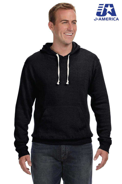 J America JA8871 Black Fleece Hooded Sweatshirt Hoodie Front